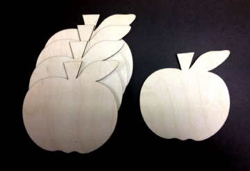 Wooden Apple Shapes Pack of 10